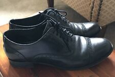 Cole Haan Brogue Wing Tip Toe Cap Lace Up Oxford Women size 7.5 m Black Leather