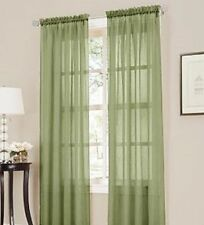 """2 panel SAGE GREEN OLIVE Sheer Voile Window treatment curtain drape 55 W X 95""""L"""