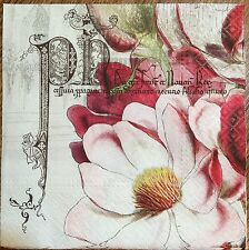 2 single paper napkins Decoupage Collection Serviette Blume Flower Magnolia Text