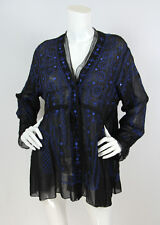 Issey Miyake HaaT Sz 2 Black Cupro Embroidered Mirror Detail Tunic Blouse Top
