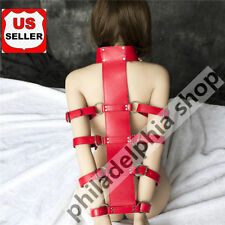 red Leather Locking Collar Arm binder Harness Restraint
