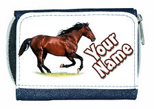 BROWN HORSE PERSONALISED DENIM PURSE - GREAT LADIES / GIRLS NAMED GIFT / PRESENT