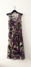 Jigsaw Printed Silk Dress With Gathering On Front Size 8 Uk