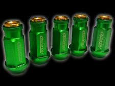 20PC 12X1.5MM 50MM EXTENDED ALUMINUM RACING CAPPED LUG NUTS GREEN/GOLD B