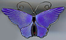 DAVID ANDERSEN NORWAY VINTAGE STERLING SILVER COBALT BLUE ENAMEL BUTTERFLY PIN