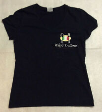 Wiley's Trattoria Fresh Organic Pasta Black V-Neck T-Shirt Fruit of Loom Size S