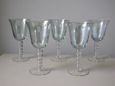 Vintage Green Iridescent Wine / Water Glasses Dot Etch & Ball Stem, Set of (5)