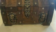 Vintage Japan Wooden Lions Head Pirates Treasure Chest Trinket Jewelry Box