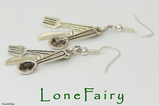 Knife Fork & Spoon Cutlery Silver Plated Earrings cook Food Chef Waitress
