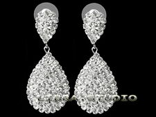 "New 1.97"" Silver Color Crystal Teardrop Bridal Prom Party Rhinestone Earrings"