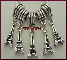 5 Eiffel Tower Dangling Charms fits European Style Bracelets or Necklaces S161