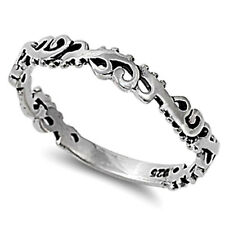 USA Seller Wave Ring Sterling Silver 925 Plain Best Deal Jewelry Size 3