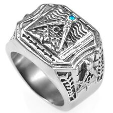 Retro Masonic Ring Size 7-15 Mason Master Graduation School Templar Blue Crystal