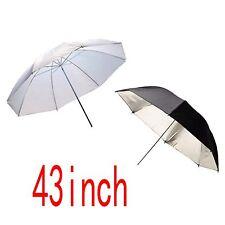 """2 X 43"""" Foto Studio Paraguas reflectante plata negro/blanco suave Paraguas Para V"""