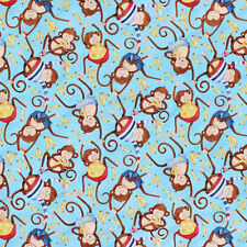 Fat Quarter Monkey Business Monkey Toss Cotton Quilting Fabric -Springs Creative