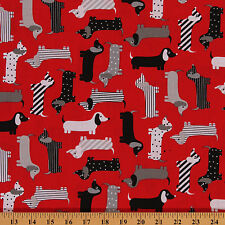 Urban Zoologie Red Mod Dogs Dachshund Cotton Fabric Print by Yard D474.28