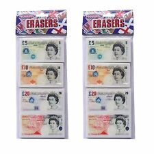 Novelty Money Bank Note Erasers - Pack of 4 Shape of UK England BankNote