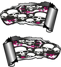 Small Pair Ripped Open Metal Rip GASH Emo Gothic Skull Repeat Car Sticker decal