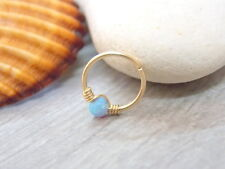 Gold filled Cartilage Earring, tiny opal hoop, nose ring, opal piercing