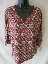 Liz Claiborne Rayon Browns Size S Casual Henley Geometric ¾ Sleeve Top SR$25 NEW
