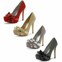 Womens Ladies Stiletto High Heel Glitter Platform Party Prom Court Shoes Size
