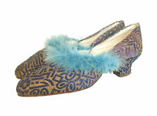 Antique Vintage 1920s ART DECO pattern blue & gold brocade slippers louis heels