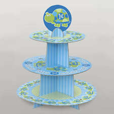 """15"""" Blue Turtle Boy's Happy 1st Birthday Party 3 Tier Cupcake Cake Stand"""