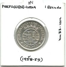 PORTUGUESE-INDIA ONE ESCUDO COIN 1958-59 UNC km#33 - 24mm Dia - RARE