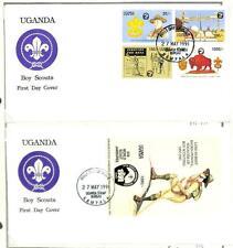 UGANDA BOY SCOUTS SCOTT #898-907 STAMP SET & SOUVENIR SHEETS ON FOUR FDC 1991