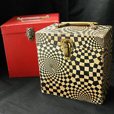 "VINTAGE RECORD CARRY CASE STORAGE BOXES 45rpm / 7"" PSYCHEDELIC GROOVY RETRO '60s"