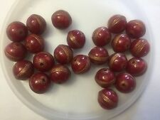 Vintage German Berry Pearlized Red Gold Orbit Design Round Lucite Bead Lot
