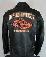 Harley-Davidson Vtg ROAD HOG Distressed Leather Biker Jacket Black Mens Large