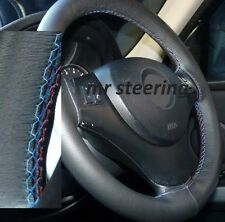FOR BMW 1 SERIES F20 BLACK LEATHER STEERING WHEEL COVER 2011+ M3 /// STICHING