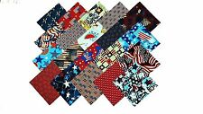 """80 5"""" Quilting Fabric Sqs/Patriotic Medley /Red/Wht/Blue-20 DIFFERENT-4 EA"""