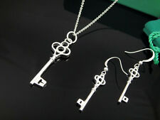 Fashion Accessories 925 Silver Chinese Knot Key Women Necklace Earrings Set+BOX