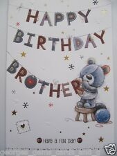 LARGE HANGING OUT THE BUNTING HAPPY BIRTHDAY BROTHER BIRTHDAY GREETING CARD