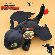 "20"" How to Train Your Dragon Plush Toothless Night Fury Soft Toy Doll Teddy BIG"