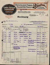 DRESDEN, Rechnung 1922, Orientalische Tabak- und Zigaretten-Fabrik YENIDZE
