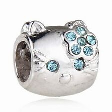 HELLO KITTY CAT 925 STERLING SILVER RHINESTONE CHARM BEAD EUROPEAN BRACELET BLUE