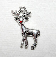 Cute silver tone Rudolph reindeer Xmas charms with red enamel nose x4