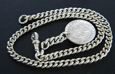 ANTIQUE! STERLING SILVER FOB CHAIN & SILVER SHILLING! STAMPED YEAR c1923 & 1893