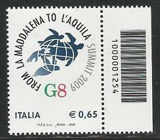 REPUBBLICA ITALIANA - 2009 G8 a L'Aquila con codice a barre 1254