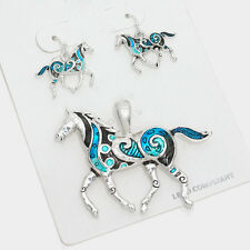 Horse Necklace Pendant Earrings SET TURQ SILVER Country Farm Cowboy Riding Trot