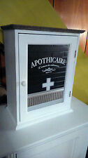 White Wooden Vintage French Shabby Chic Decorative Glass Medical Cabinet BNIB