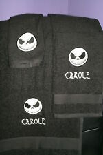 Nightmare Christmas Jack Skull Personalized  3 Piece Bath Towel Set Skelton