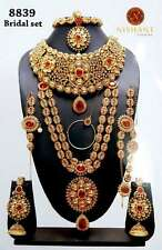 TRADITIONAL RED KUNDAN GOLD TONE NECKLACE INDIAN BRIDAL DULHAN JEWELRY SET 9 PCS