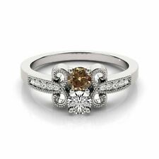 1.097  Carat Brown&White VS2-SI1 2 Diamond Solitaire Engagement Ring 14k WG