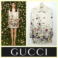 Gucci $2,900 flora infinity double breasted linen trench coat~40/S