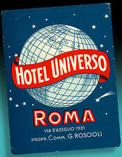 ALTER KOFFERAUFKLEBER | HOTEL UNIVERSO ROMA | LUGGAGE LABEL 50er WUNDERBAR