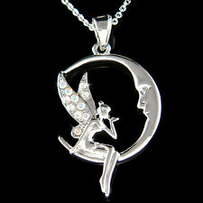 w Swarovski Crystal Fairy ~Tinkerbell~ Tinker Bell ANGEL Wing MOON Face Necklace